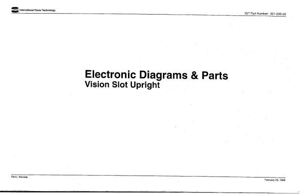 igt coinslots com coinslots com i g t vision slot upright electronic diagrams parts manual